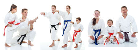 Family karate athletes shows on the white background collage