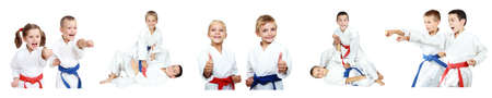 Children show techniques of karate a collage
