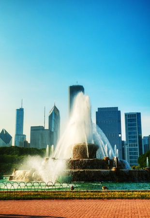 Chicago downtown cityscape with Buckingham Fountain at Grant Park