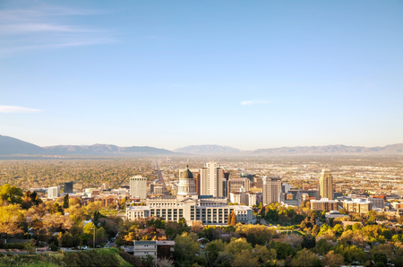 Salt Lake City panoramic overview in the morning