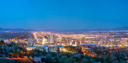 Salt Lake City panoramic overview in the night