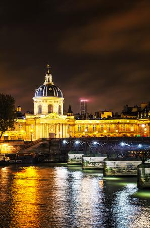 Institut de France building in Paris, France at night