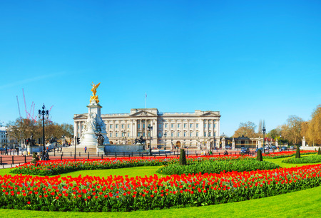 Buckingham palace panoramic overview in London, United Kingdom on a sunny day