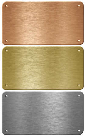 Aluminum, copper and brass metal plates with rivets isolated with clipping path