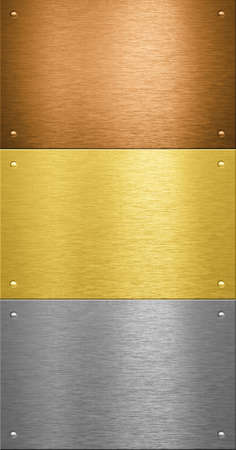 Aluminum and brass stitched metal plates with rivets