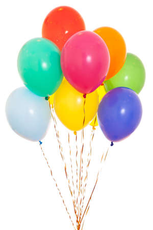 Foto de colourful balloons bunch filled with helium isolated on white - Imagen libre de derechos
