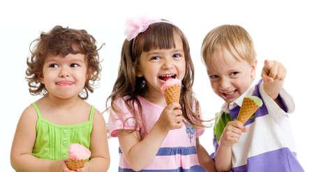 happy children with ice cream in studio isolated