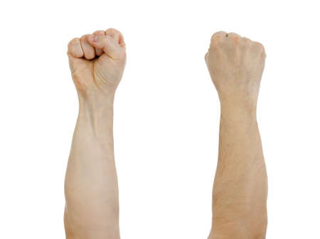 Photo pour clinched fist raised up  isolated on white - image libre de droit