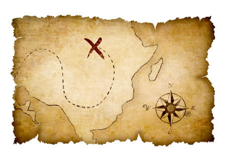 Pirates  map with marked treasure location