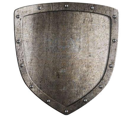 Old metal medieval shield. Crest pattern.