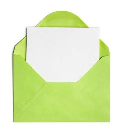 Opened green envelope or cover with blank paper sheet included