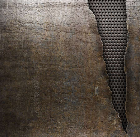 Photo for grunge metal background with ripped hole - Royalty Free Image