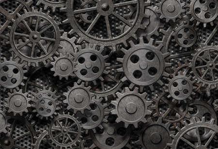 Photo pour many old rusty metal gears or machine parts - image libre de droit