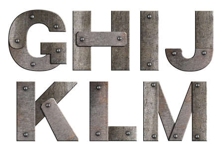 Old grunge metal alphabet letters isolated on white  From G to M