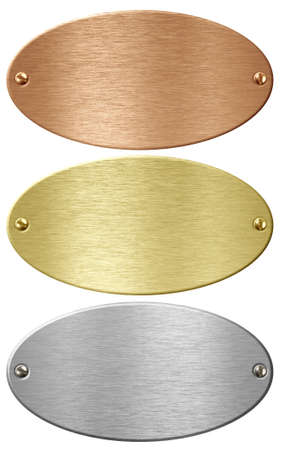 Silver, gold and bronze metal ellipse plates isolated with clipping path included