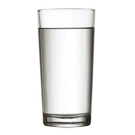 tall full glass of water isolated on white clipping path included