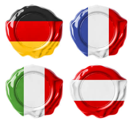 Germany, France, Italy, Austria national flag wax seals set isolated on white