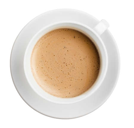 cup of coffee with foam isolated on white, all in focus, top view
