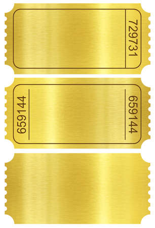 Ticket set. Golden ticket stubs set isolated on white with clipping path included.