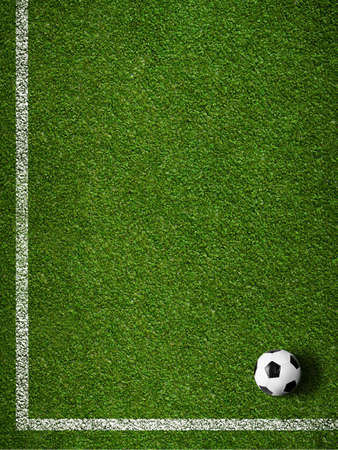 Soccer grass field with marking and ball top view