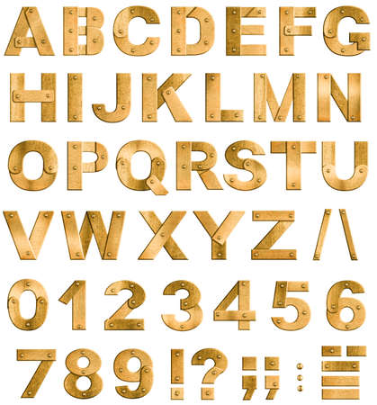 Golden or brass metal alphabet letters, digits and punctuation marks  Font isolated on white