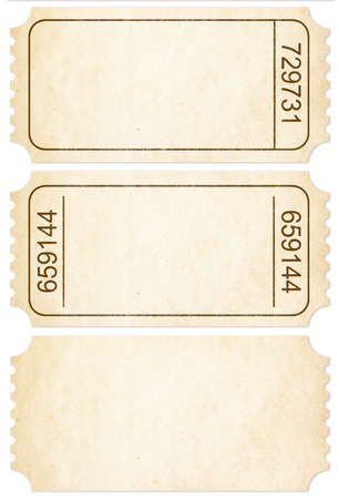 Ticket set. Paper ticket stubs isolated on white