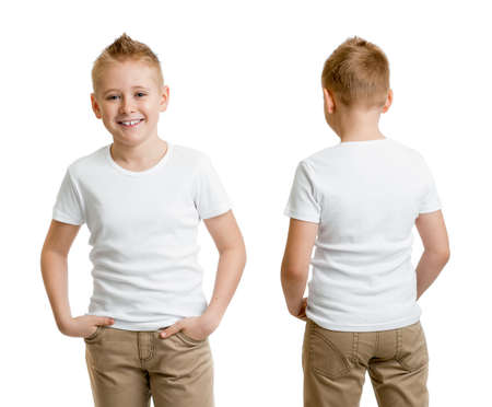 handsome kid boy model in white t-shirt or tshirt back and front isolated
