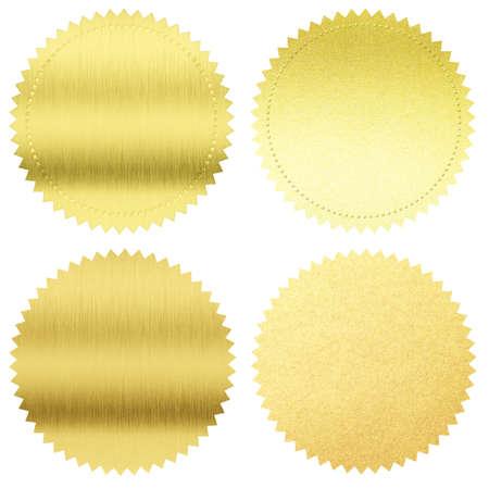 Photo pour gold seals or medals set isolated on white - image libre de droit