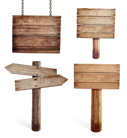 Old wooden road signs set isolated