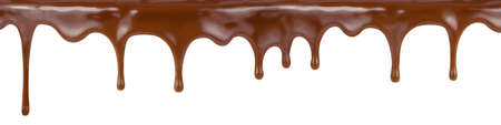pouring chocolate dripping from cake top isolated on white background