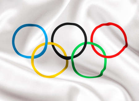 TOMSK, RUSSIA - MAY 25, 2014: International Olympic Committee flag closeup