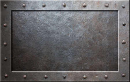 Photo for Old metal frame with rivets - Royalty Free Image