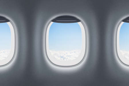 Photo pour Three airplane or jet windows - image libre de droit