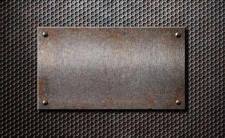 Photo for old rusty metal plate over comb grid or grille background - Royalty Free Image