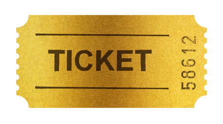 Golden ticket isolated on white