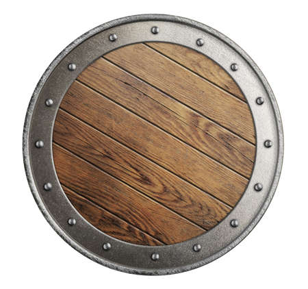medieval old wooden vikings\' shield isolated on white