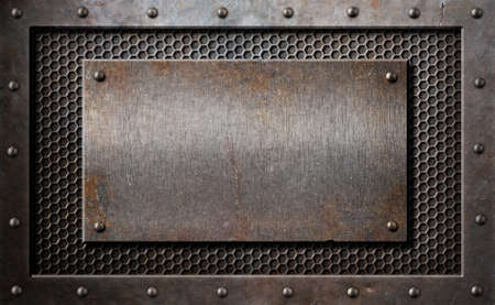 old rusty metal plate over comb grid or grille background