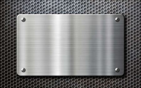 Photo for stainless steel metal plate over perforated background - Royalty Free Image