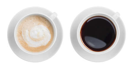 Photo for cappuccino and black espresso coffe cup top view isolated on white - Royalty Free Image