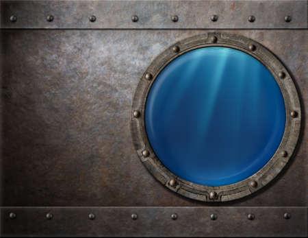 Photo pour submarine or battleship porthole steam punk metal background - image libre de droit