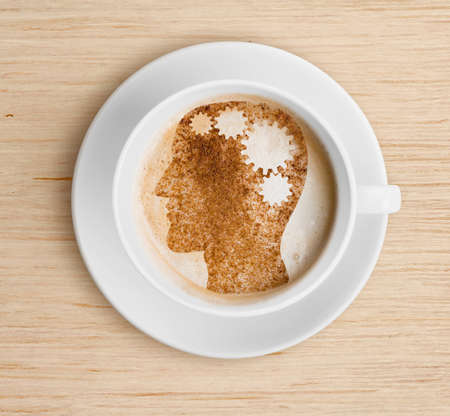 Coffee cup with brain on foam