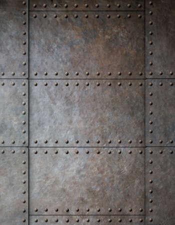 Photo pour steel metal armour background with rivets - image libre de droit