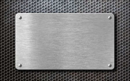 Photo for brushed steel metal plate background with rivets - Royalty Free Image