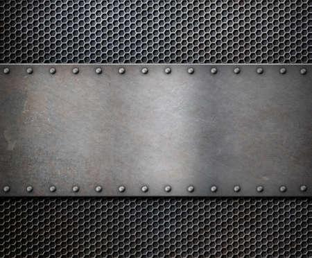 Photo pour old metal rustic plate over grid background - image libre de droit