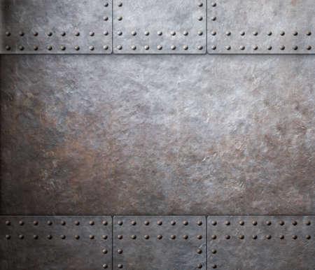 Photo pour steel metal armor background with rivets - image libre de droit