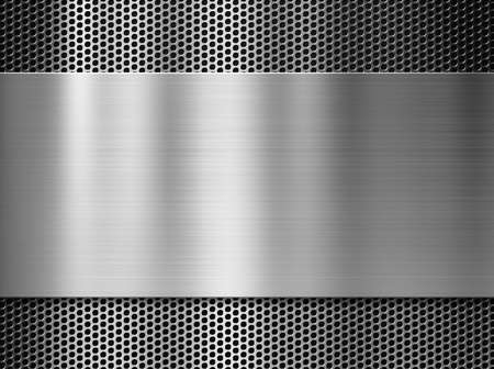 Photo for steel or aluminum metal plate over grill background - Royalty Free Image