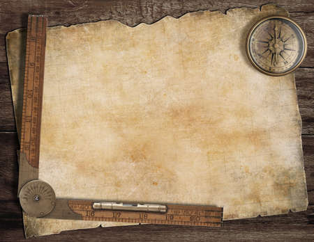 Foto de Old treasure map background with compass and ruler. Exploration concept. - Imagen libre de derechos