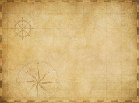 Photo for old blank vintage nautical map on worn parchment background - Royalty Free Image