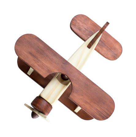 Foto de Wooden airplane model top view isolated - Imagen libre de derechos