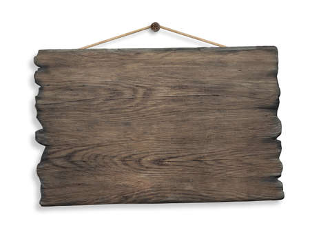 Photo for wood sign hanging on rope and nail isolated - Royalty Free Image